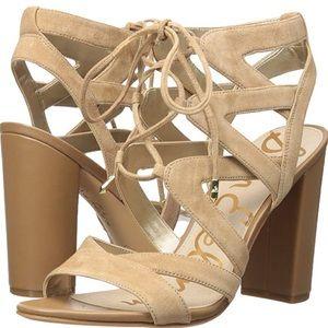 NIB Sam Edelman Nude Suede Lace Up Sandals